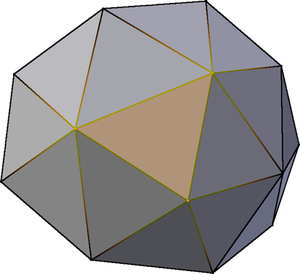 The yellow marked vertices describe the highlighted triangle in the 3D model.