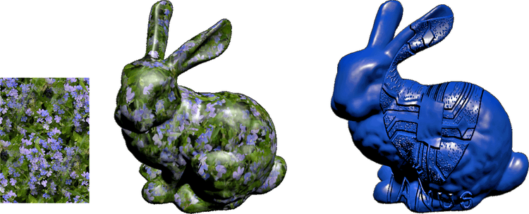 A texture and its application on a 3D model (left). The model (right) has had the IANUS-logo applied to it using bump mapping. The application appears to have altered the model surface in three dimensional way despite the geometry of the model remaining the same.
