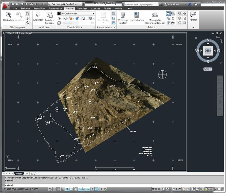 Screenshot of  the rectified image within AutoCAD