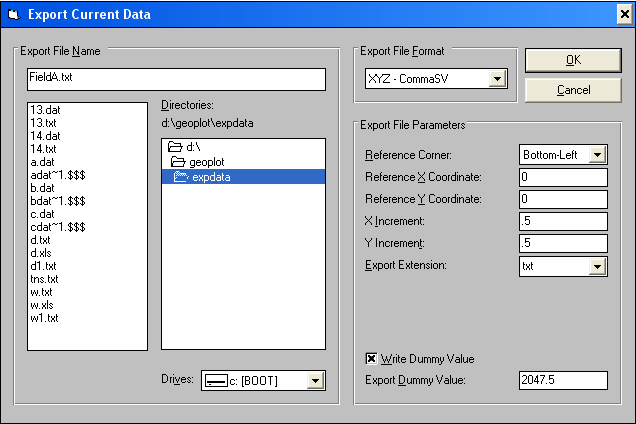 Screen capture of XYZ data export