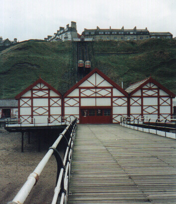 View of the cliff lift from the pier